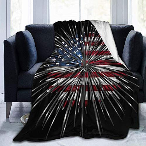 AEMAPE Manta de Tiro Bandera Americana Fuegos Artificiales Piel sintética Franela Suave Manta cálida para Cama Sofá Silla Manta de Cama Ligera, Toda la Temporada