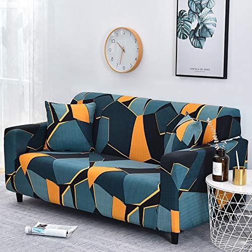 Funda de sofá con diseño de Hojas nórdicas, Funda de sofá elástica de algodón, Fundas de sofá universales para Sala de Estar A21 de 2 plazas