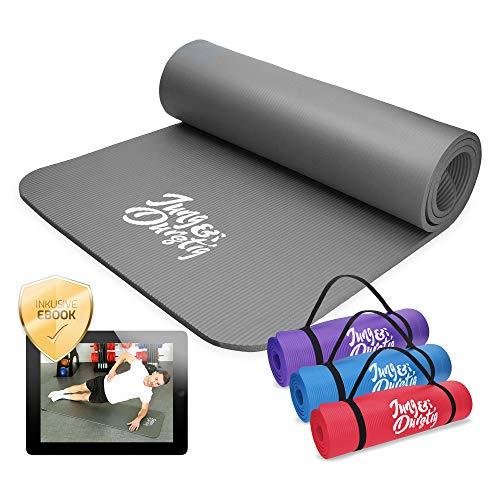 Jung & Durstig Yogamatte Gymnastikmatte Sportmatte Fitnessmatte rutschfest mit Tragegurt | 180 x 60 x 1 cm | Grau