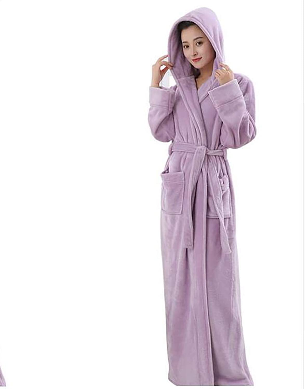 Winter Adult Soft Bathrobe with Hood Women Nightgown Home Clothes Warm Bath Robes Dressing Gowns,M