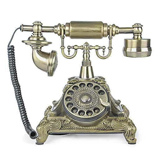 TelPal Rotary Dial Vintage Antique Home Telephone Table Replica, Retro Office Corded Telephone Decor
