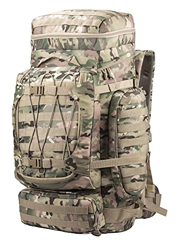 XMILPAX Internal Frame Backpack Military Rucksack Tactical MOLLE Pack for Backpacking Hiking Camping Trekking 80L (Camo)