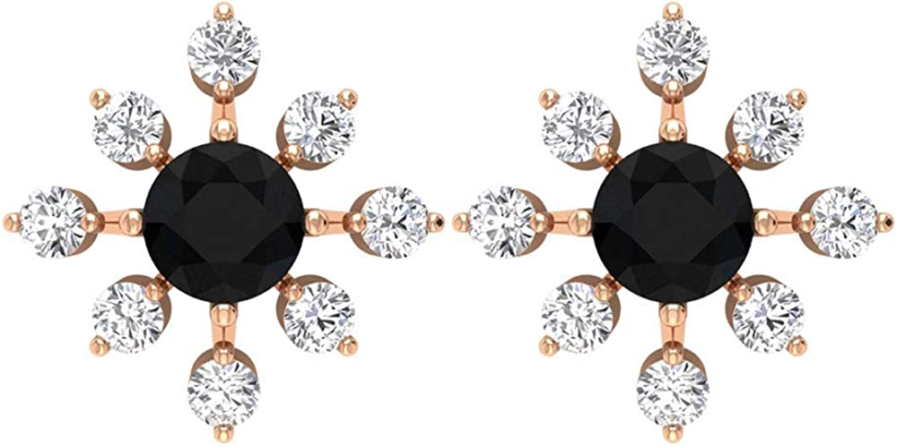 4 MM Round Black Spinel Earrings, 1/2 CT HI-SI Diamond Floral Stud Earrings, Gold Statement Earrings (AAA Quality),14K Rose Gold,Black Spinel