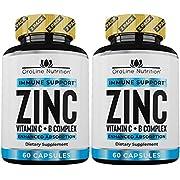 Oroline Zinc Supplements for Immune Support - [2 Pack] Vitamin C and Zinc 50mg Supplement - Great Zinc Supplement for Adults - Best Zinc Capsules for Immunity Support -An Immune Booster & Zinc Vitamin