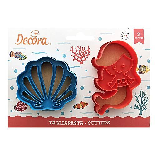 Decora 0255138 Set 2 Tagliapasta Sirena e Conchiglia in Plastica
