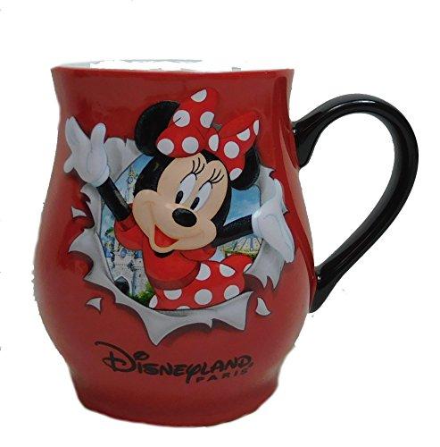 Disney Kaffeetasse Tasse Mug Pott Kaffee Becher Disneyland Paris erhaben Minnie Mouse 7,5cm Durchmesser rot Bauchtasse