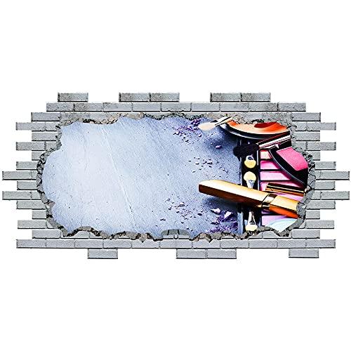 Pegatinas de pared Wall Stickers Makeup Beauty Salon Beautician Vinyl Decal 3D Art Hole Room S098