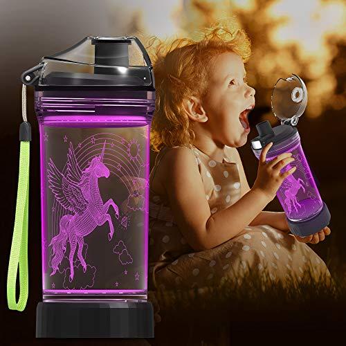 Kinder Wasserflasche mit 3D leuchtenden Einhorn Illusion LED Licht - 14 0z - Kreative Idee Geschenk f¨¹r M?dchen Kind Enkelin Urlaub