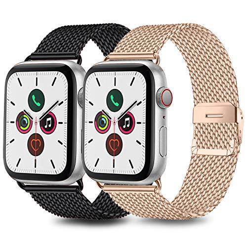 Mugust 2 Pack Kompatibel für Apple Watch Armband 42mm 44mm 38mm 40mm, Metall Edelstahl Ersatz Armband Kompatibel mit iWatch Series SE/6/5/4/3/2/1 (02 Schwarz/Roségold, 38mm/40mm)