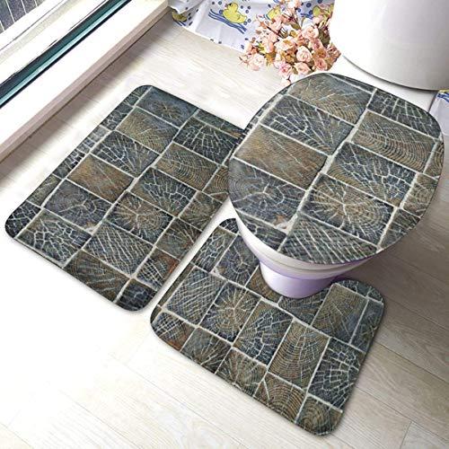RedBeans rutschfeste Badematte, 3-teiliges Flanell-Badezimmerteppich-Set, Holzfliesen, weiche WC-Vorleger, rutschfeste Duschvorleger, Teppich und WC-Vorleger