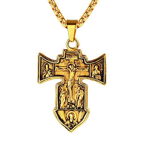 FaithHeart 18K vergoldet Halskette für Männer Edelstahl Russisch Orthodoxe Kreuz Kette Herren Anlaufgeschützt Vater