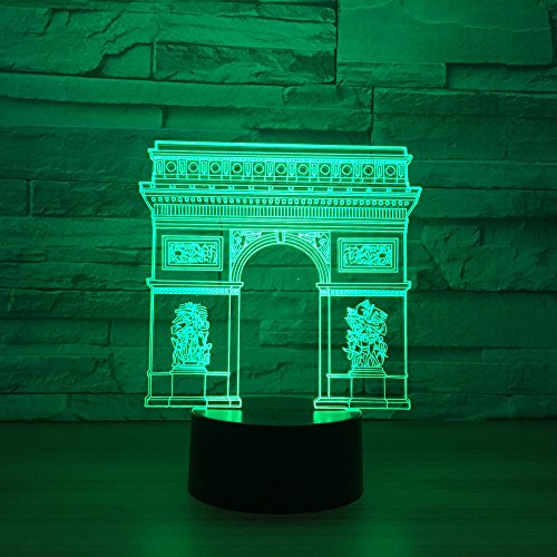3D Lámpara Arco del Triunfo Illusions Luz Nocturna gradiente de 7 colores Luces decorativas Lámpara de mesa Luz del sueño 3D Night Light Regalos de cumpleaños para niños