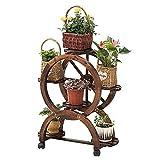 ZIHUAD RegalBlumenständer Massivholz Pflanze Steht mit Rädern Garten Balkon Indoor Outdoor abnehmbare runde Lagerregal