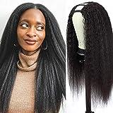 U Part Wig 16 Inch Yaki Straight Human Hair Wig Glueless Half Wig 2x4 Middle Part U Part Wigs for Black Women Human Hair