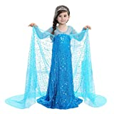 Mädchen Ice Queen Prinzessin Pailletten Glitzer Kleid, Girl 's Princess Halloween-Kostüm Cosplay Fancy Kleid Party Outfit