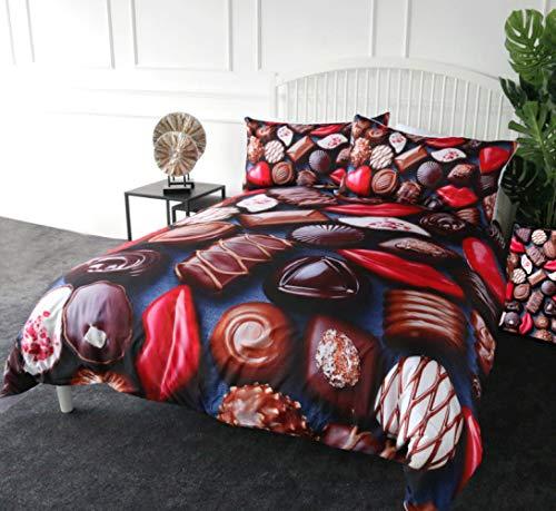Ditiaodeken beddengoed set 3-delige dekbedovertrek chocolade beddengoed set, Sweet Candy dekbedovertrek koningin rode lippen meisjes dekbedovertrek Dessert Bed Set