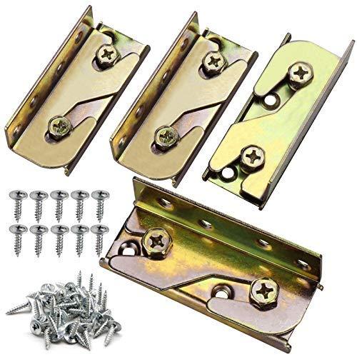 Paquete de 4 soportes para riel de cama con tornillos y accesorios para rieles de cama, marcos de madera resistentes y no mortajados, rieles de cama, cabeceros