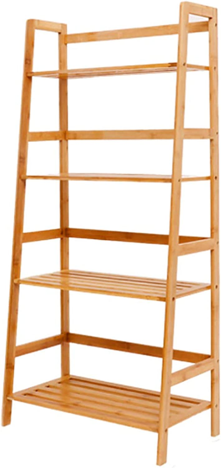 Ladder Shelf Floor-Standing Bookshelf Wooden Thickened Open Shelf Creative Tall Bookcase Easy Assembly Multipurpose for Home or Office -A 57.5x31x120cm(23x12x47inch)