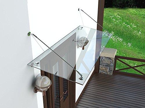 Weber Modern Glasvordach Vordach Türvordach Türdach Haustür Klarglas Glas Edelstahl VSG 13,1mm (Edelstahl V2A Strebe, 180x90cm)