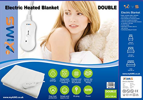AIMS Electric Blanket DOUBLE Heated Under Bed Comfort Detachable Controller...