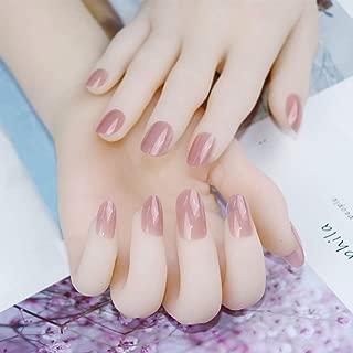 SPOKML Uñas Postizas 24Pcs / Set Jelly Pink Color False Nails Girls Short Round Head Full Cover Nail Art Tips con Pegamento Mujeres Nature Nude Fake Nail
