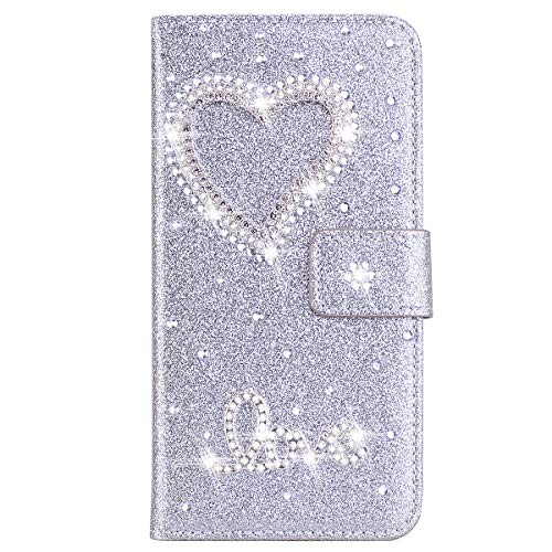 Brillantini Samsung Galaxy S6 Edge Flip Cover 3D Design Bling Strass Argento PU Leather Glitter Big love Pelle Antiurto Libro Portafoglio Kickstand Magnetica Cover Flip Case Samsung Galaxy S6 Edge