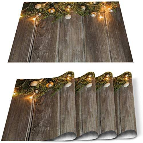 Store Thème de Noël Arbre de Noël Grains de Bois Set de 4, Tapis de Table en PVC résistant à la Chaleur Tapis de Table de Cuisine Lavable antidérapant pour Table à Manger Décor de Table de Banquet d