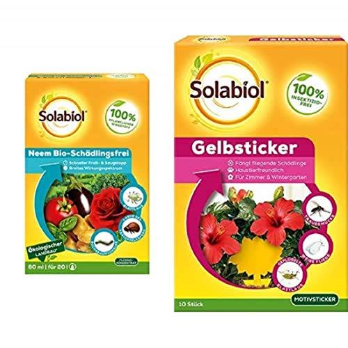 Solabiol Neem Bio-Schädlingsfrei, biologische Schädlingsbekämpfung an Zierpflanzen + Gelbsticker Insektenabwehr mit Spezialleim ohne Insektizide, gegen Trauermücken