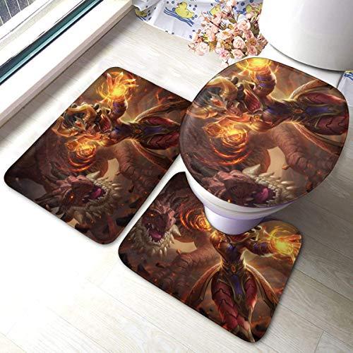 xinping Paladin World - Juego de alfombrillas de baño (3 piezas, juego de alfombras de baño y almohadillas absorbentes para baño y alfombrilla S.