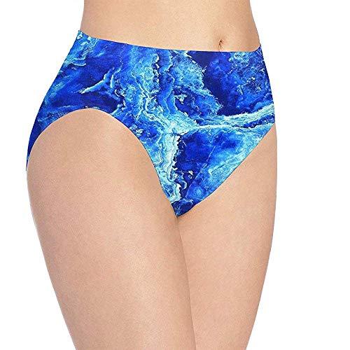 Web--ster-underwear Ropa Interior para Mujer, Textura de mármol Azul, Ropa Interior con Estampado HD, Bragas Lindas para niñas, Braguitas, Talla L