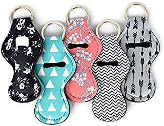 Cool Chapstick Holder Lanyard Keychain (5 Pack) Neoprene Chapstick Holder Keychain to Match Neck and Wrist Lanyard