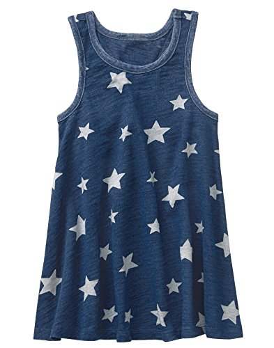 Gymboree Girls' Little Sleveless Print Dress, Gym Navy Stars, L