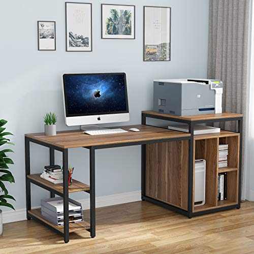 home office desk with storages Tribesigns Extra Large Computer Desk with Storage Shelf, Home Office Desk with Printer Stand & Cabinet Bookcase Combo, Writing PC Table with Space Saving Design,Dark Walnut