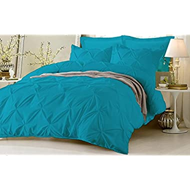 Pinch Pleated Duvet Cover With Zipper & Corner Ties 100% Egyptian Cotton 600 Thread Count Luxurious & Hypoallergenic Pintuck Decorative ( Queen/Full, Torquise Blue ) by Kotton Culture