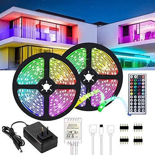10M LED Streifen RGB 5050,LED Strip 300 LEDs,LED Lichterkette mit 44 Tasten Fernbedienung,verstellbare Helligkeiten RGB Farbwechsel Strip für Haus,Party, Bar,TV,(2x5m)