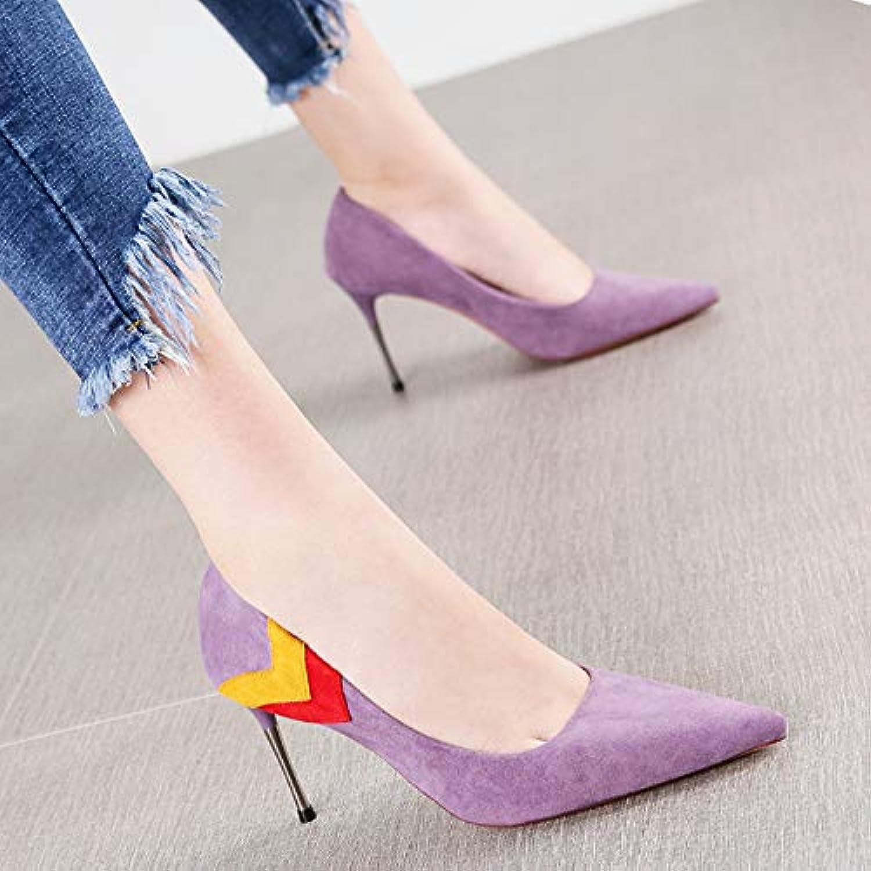 HRCxue Pumps Sexy lila Spitzen Wildleder Farbe passenden passenden passenden flachen Mund einzelne Schuhe Mode Stiletto Super High Heels Frauen 2a1