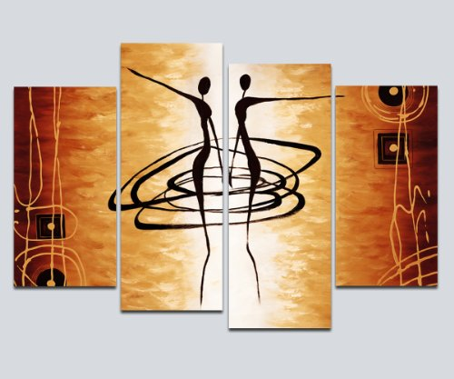 Wieco Art Large 4 Piece Modern Stretched and Framed Giclee Canvas Prints Abstract African Figures Dancing Oil Paintings Style Pictures on Canvas Wall Art for Living Room Bedroom Home Decorations