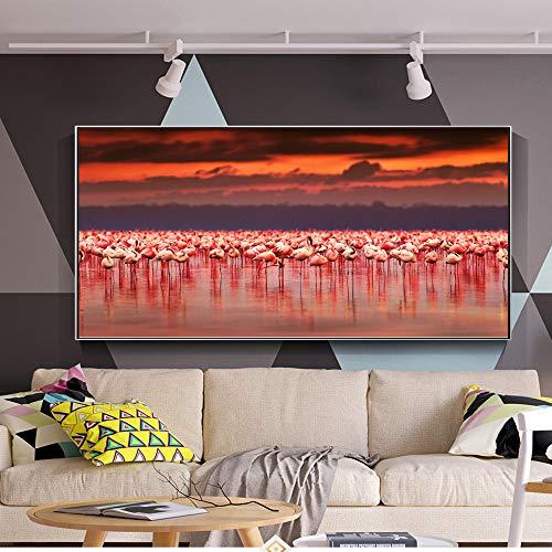 NIMCG Decoración del hogar Cartel Impreso en Lienzo Pintura 1 Piezas Flamingo Animal Sunset Landscape Wall Art Imágenes modulares Sala de Estar (Sin Marco) R1 60x120CM