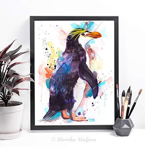 AQjept DIY Pintar por números pingüino Pintura al óleo de Bricolaje, Kits de Pintura por números para Adultos