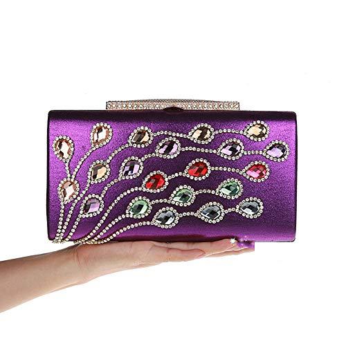 Zhicaikeji Bolso de Noche Elegantes Bolsos de Noche con Purpurina, Bolso de Noche Brillante para el Baile de Boda para la Fiesta (Color : Purple)
