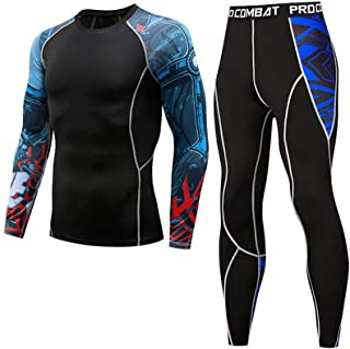 Mens Compression Sports Suit, Crew Long Sleeve Thermal Baselayer Top + Base Layer Leggings Set S-3XL,A5,M