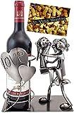 BRUBAKER Porte-Bouteille de vin - Couple d'amoureux & cœurs - Métal - Carte de vœux Incluse - Idée Cadeau Originale - Objet décoratif