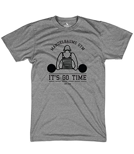 Guerrilla Tees Mandelbaums Gym Funny Graphic tees Workout and Weightlifting tv Shirt, Grey, Large