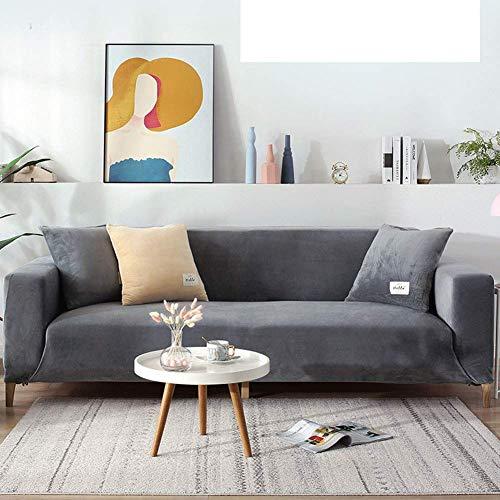 FSYGZJ Funda de sofá de Terciopelo de Ajuste fácil, Fundas de sofá Suaves universales de Gran Elasticidad, Funda Protectora de Muebles elástica y Lavable, Gris Claro, 4 plazas