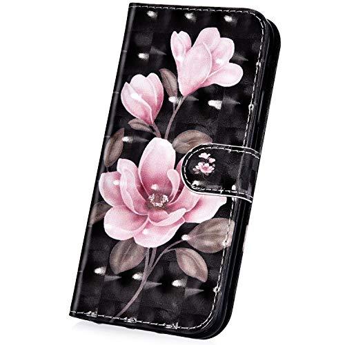 Surakey Hülle für Sony Xperia XA1 Ultra Handyhülle Brieftasche Stil Handytasche PU Leder Schutzhülle Flip Hülle Cover Glitzer 3D Bunte Muster Lederhülle Wallet Hülle Ständer Kartenfächer, Pink Blumen