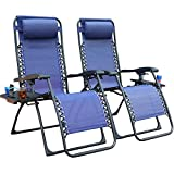 GOLDSUN Zero Gravity Chair Patio Folding Lawn Lounge Chairs Outdoor Foldable Camp Reclining Lounge Chair with Cup Tray for Backyard Porch Swing Pool and Beach Set of 2 (Dark Blue)