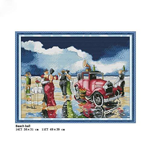 Fiesta en la playa de punto de cruz contado 11CT 14CT DIY mano punto de cruz tela para bordado decoración del hogar costura, tela impresa 14CT
