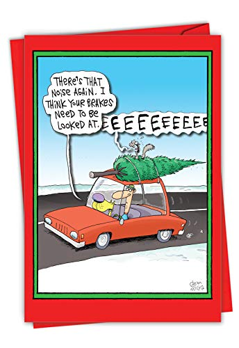 Screaming Tree - Humorous Comic Merry Christmas Card with Envelope (4.63 x 6.75 Inch) - Cartoon Christmas Tree Humor, Animals and Man Joke Card for Kids, Adult - Happy Holidays Stationery Gift 1883