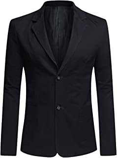 Mens Casual Blazer Slim Fit Long Sleeve Solid Jacket Single Breasted Washed Cotton 3-Button Casual Suits Blazer Jackets
