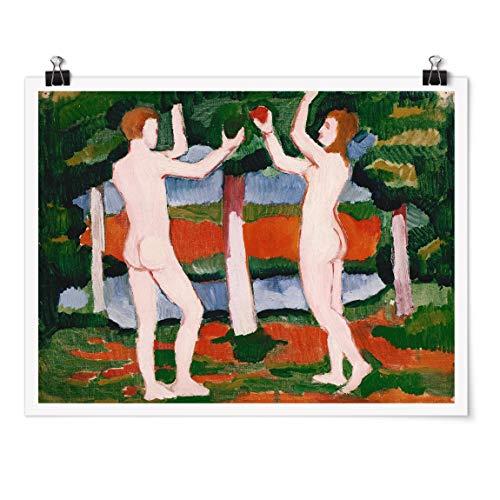Bilderwelten Poster - August Macke - Adam Eve - Paysage 3:4 Fini satiné Autocollant 30x40cm